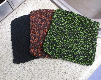Set of 3 Neon and Black Dishcloths