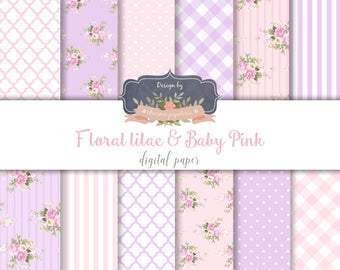 SALE Shabby chic digital paper, floral digital paper baby pink, pink and lilac, roses digital paper, decoupage paper, baby pink and purple