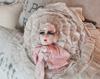 Boudoir doll antique ruffle pillow, tulle, lace pillows, shabby