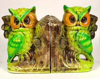 Two Retro Owl Bookends Made in Japan