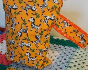 Sale! Zebra Project Bag -Sock Project Bag - Knitting Bag - Crochet Bag