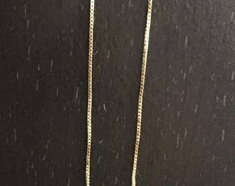 """Gold necklace made by miller. Box chain 14KT, 19 inches. """"Thin"""""""
