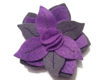 Brooch felt flower, flower, felt brooch felt, brooch women, brooch mauve, grey brooch, elegant brooch, female gift, flower brooch