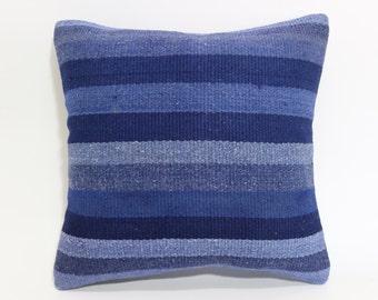 Decorative Kilim Pillow Cushion Cover 16x16 Vintage Blue Overdyed Striped Kilim Pillow Throw Pillow Turkish Pillow Cushion Cover SP4040 1501