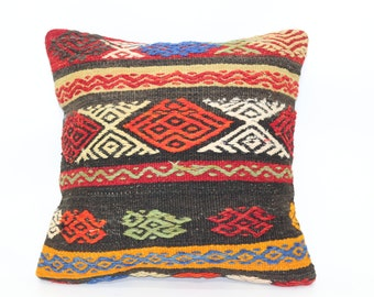 20x20 Naturel Kilim Pillow Throw Pillow Handwoven Kilim Pillow 20x20 Organic Pillow Large Pillow  Cushion Cover SP5050-1377