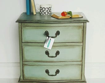 Vintage Painted Bow Fronted Bedside Cabinet Chest of Drawers