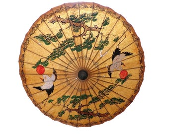 1940's Japanese Rice Paper Parasol Umbrella Two Cranes and Bonsai