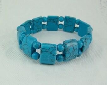 DESTASH, Turquoise Bracelet, Faux Turquoise, Stretch Bracelet, Turquoise Bead Bracelet, Beaded Bracelet, Blue Bracelet, Cuff Bracelet