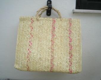 Straw Bag with wicker handles- Portuguese straw grocery bag - Straw market bag- Straw basket