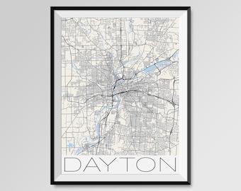 DAYTON Ohio Map, Dayton City Map Print, Dayton Map Poster, Dayton Wall Map Art, Dayton gift, Custom city maps, Personalized maps, Ohio map