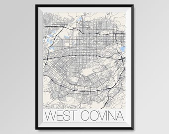 West covina map art Etsy