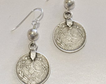 Coin earrings with Silver Ball and hook