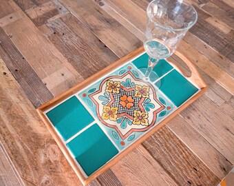 Teal Green Boho Breakfast Tray / Hippie Wedding Decor / Gypsy Boho Decor / Rustic Serving Tray / Housewarming Gift / Paris Decor Bedroom
