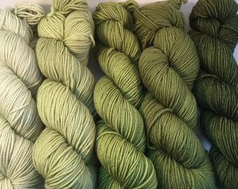 Worsted Weight Hand-dyed Gradient Yarn Packs in Green Merino Superwash
