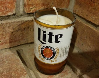 Miller lite beer bottle candle - scented candle - Upcycled beer bottle candle
