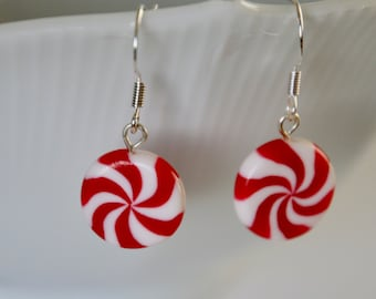 Peppermint Candy Earrings - Miniature Polymer Clay Food Jewelry - Christmas Earrings
