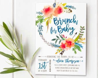 Fall Autumn Watercolor Baby Shower Brunch Invitations Invites For Girls,  Rustic Watercolor Flowers Baby Shower