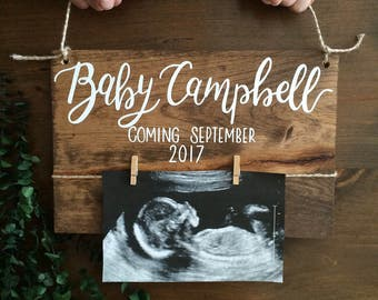 Baby reveal - baby announcement - pregnancy announcement - new baby - parents to be - wood sign - baby nursery - reveal wood sign