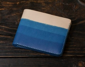 Indigo Dyed Natural Vegetable Tanned Leather Bifold Wallet with 3 Layer Gradient Dye Pattern