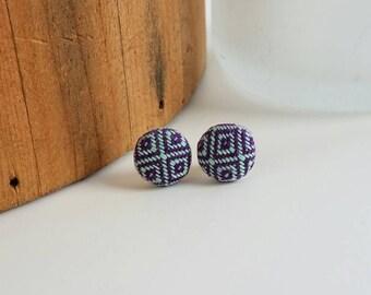 Earrings - Girasol Diamond Weave - Wrap Scrap Earrings - Girasol - Wrap Scrap - Silver Plated - Teal and Purple