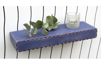 "12"" L UltraMarine Floating Wall Shelf distressed painted wooden wood shelves"