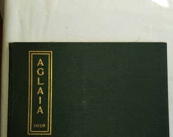 Vintage 1918 Manchester, N.H. High School AGLAIA Yearbook with the 50th Anniversary Invitation to the Class Reunion.  Very nice condition.