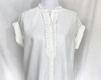 Vintage Lace button-up Ivory Blouse M/L