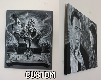 CUSTOM ART Medium Large Black and White Acrylic Painting from Photo Realistic Commission Portraits Painting on Canvas Personalized Gift