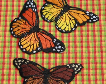 Iron-On Patch Yellow, Orange and Brown Butterflies