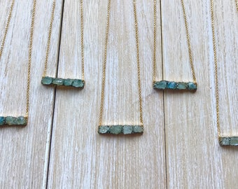 Aquamarine necklace, March birthstone pendant, gold bar necklace, raw gemstone jewellery, stone pendant, aquamarine jewellery