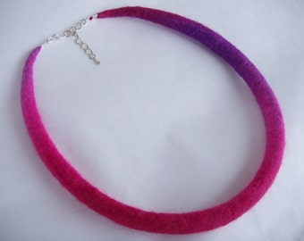 Size M-L, Felted necklace, felt necklace, necklace, choker, pink necklace, purple necklace, wool jewelry, boho necklace, 52cm, 20.8inch