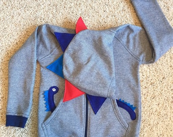 Blue red dinosaur spike hoodie