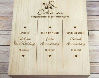 Wedding Day Triple Wooden Wine Box - Wedding Day Gift - Wooden Wine Box - Wedding Gift - Triple Wedding Wine Box - 3 Bottle Wine Box