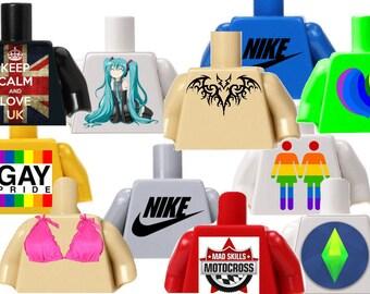 Custom Lego Clothing,Toys,Cake Topper,Building Block Minifigures,Jumpers,The Sims,Tattoo,Sport,Bikini,Kawaii,Hatsune Miku,SOA,Pokemon,