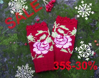 SALE 30%,Hand Knitted Fingerless Gloves,Accessories,Gloves & Mittens, Gift Ideas, For Her, Winter Accessories, Elegant,  Hand Crocheted Lace