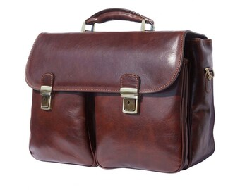 Italian Handmade Leather Messneger Briefcase In Tan 7626