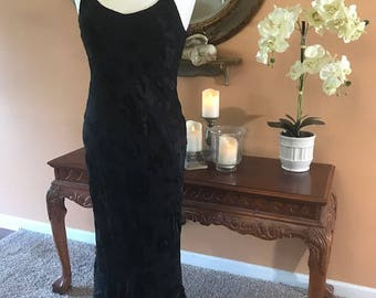 Vintage Silk Black Dress Maxi Sleveeless Dress Evening or Day Dress 100 percent Silk From Spencer Alexis