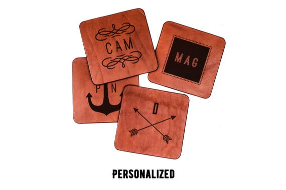 Monogrammed leather coasters - set of coasters - personalized coasters - personalized engraved gift - housewarming gift - custom coasters