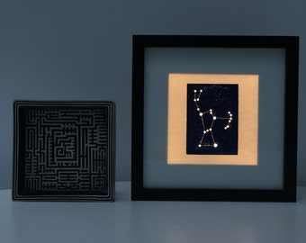 Orion Light Box Night Light Unique Illuminated Constellation Woodblock Print shadow box frame. Nursery Decor.