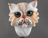 Persian or Himalyan Flat Faced Lampwork Glass Cat Bead