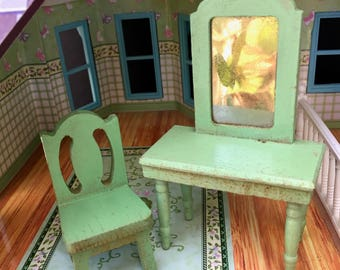 Darling 1920's Era Wooden Dollhouse Vanity with Matching Chair