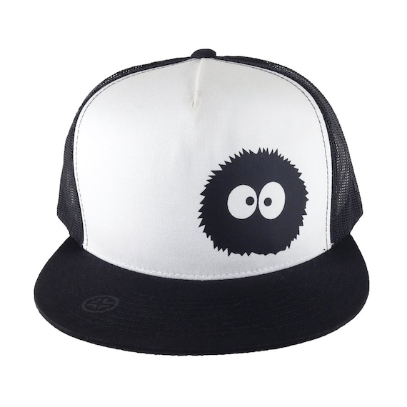 Soot Ball, Totoro Dust Bunny, Anime Style, Black and White, Truker hat, Totoro Trucker, Geek gift, Otaku gift, Anime gift, Anime Style Gift