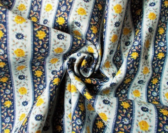 Retro Cotton Dress Fabric - 1960's/1970's - Navy, white & yellow striped/floral design - 1 piece - Unused