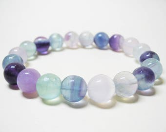 Rainbow Fluorite Bracelet Fluorite Bracelet Gemstone Bracelet Healing Bracelet Crown Chakra Bracelet Wrist Mala Bracelet Energy Bracelet