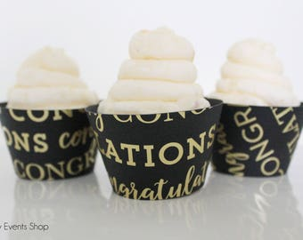 Graduation Cupcake Wrappers, Congratulations Cupcake Wrappers, Gold & Black Cupcake Wrappers, Graduation Party-Set Of 6, 12,18,24+