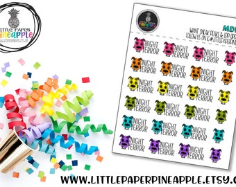 NIGHT TERROR Monsters Planner Stickers   Repositional Matte Stickers   MD10