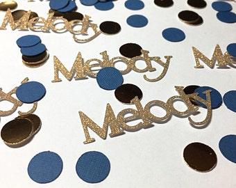 Custom name confetti.  Gold and blue confetti.   Birthday confetti.  Glitter confetti.  Gold confetti.  Custom party supplies.  Birthday