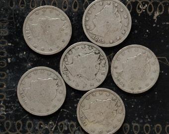 Six Liberty Head V Nickels, 1897 - 1911