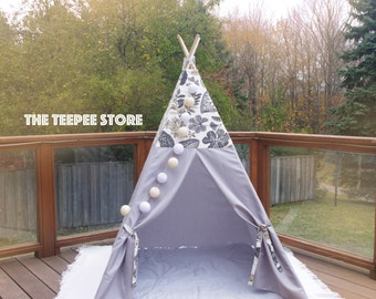 Natural Floral and Grey Bottom combo Inspiration | Unisex Kid's Teepee | Tent | Tipi | Playhouse | Wigwam | Gift | Photo Prop | Canada