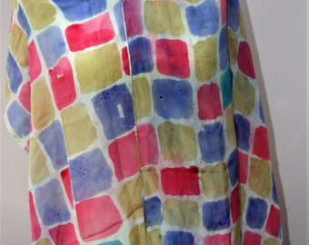 Hand painted multi-coloured silk scarf